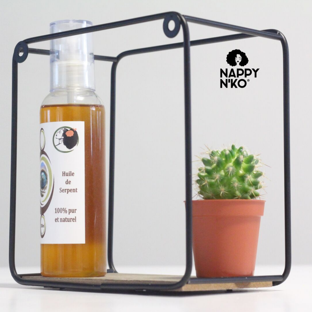 huile de serpent 100% naturelle de nappy n'ko pour le soin des cheveux crépus, frisés, bouclés et ondulés